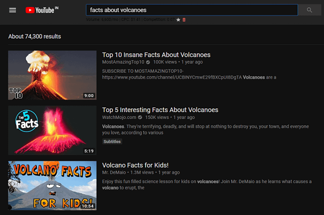 searching for volcanoes on youtube