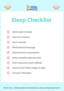 reduce sleep deprivation checklist